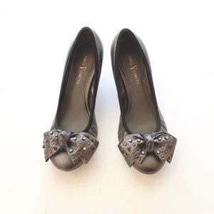 Vince Camuto Bow Accent Silver Studded Heels